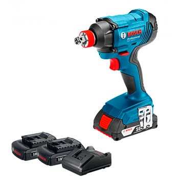 """Chave de Impacto a Bateria de ¼  e ½""""  Bosch GDX 180-LI, 18V, com 180Nm, 2 Baterias 1,5Ah, 1 Carregador BIVOLT, em Maleta plástica"""