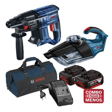 Combo Martelete + Aspirador + Kit Baterias + Bolsa - Bosch