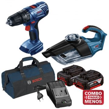 Combo Furadeira De Impacto + Aspirador De Pó + Kit Baterias + Bolsa - Bosch