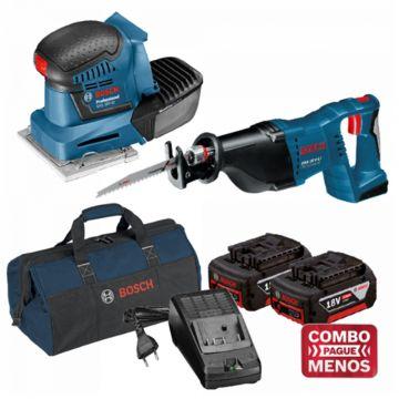 Combo Lixadeira De Palma + Serra Sabre + Kit Baterias + Bolsa - Bosch