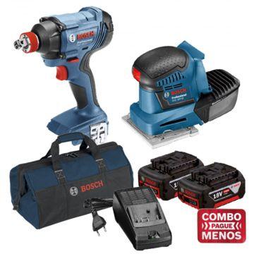 Combo Chave De Impacto + Lixadeira De Palma + Kit Baterias + Bolsa - Bosch (Default)