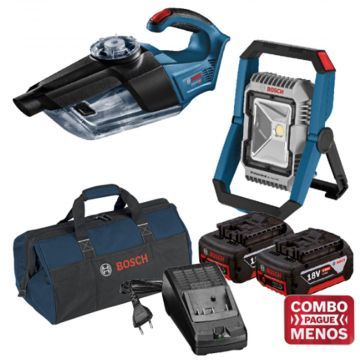Combo Aspirador + Lanterna + Kit Baterias + Bolsa - Bosch