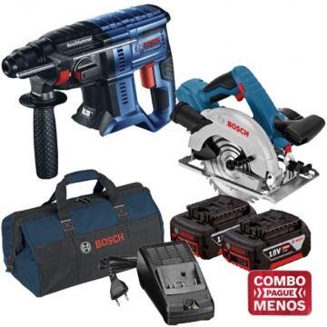 Combo Martelete + Serra Circular + Kit Baterias + Bolsa - Bosch