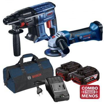 Combo Martelete + Esmerilhadeira + Kit Baterias + Bolsa - Bosch