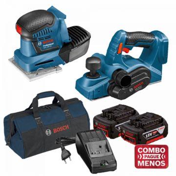 Combo Lixadeira De Palma + Plaina + Kit Baterias + Bolsa - Bosch