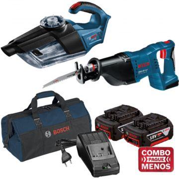 Combo Aspirador + Serra Sabre + Kit Baterias + Bolsa - Bosch