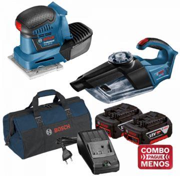 Combo Lixadeira De Palma + Aspirador De Pó + Kit Baterias + Bolsa - Bosch (Default)