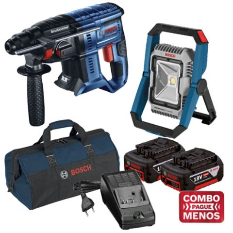 Combo Martelete + Lanterna + Kit Baterias + Bolsa - Bosch