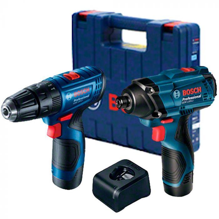Combo Chave de Impacto e Furadeira de impacto e Parafusadeira Bosch GDR 120-LI + GSB 120-LI com 2 baterias, 1 carregador, Kit com de Acessórios
