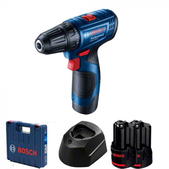 Parafusadeira e Furadeira Bosch GSR 120-LI a bateria de 12V 30/14 Nm com 2 baterias, 1 carregador e maleta