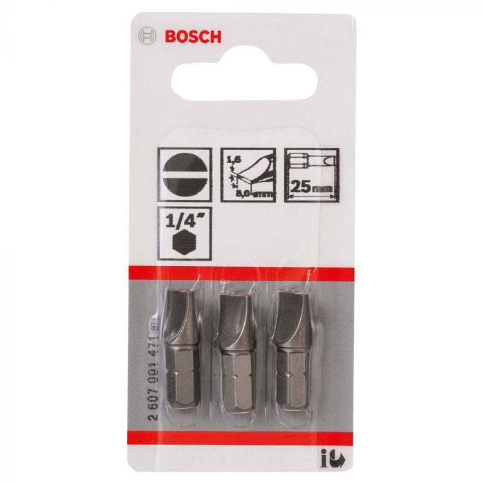 Ponta Para Parafusar Fenda 6x8, 25mm Com 3 Unidades - Bosch