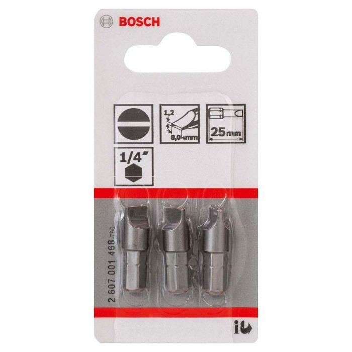 Bits Fenda Extra Hard para Parafusar 1,2x8,0, 25mm com 3 unidades - Bosch