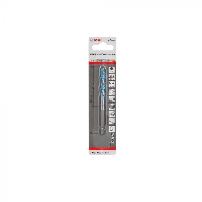 Broca Hex-9 Multiconstruction BOSCH 8MM