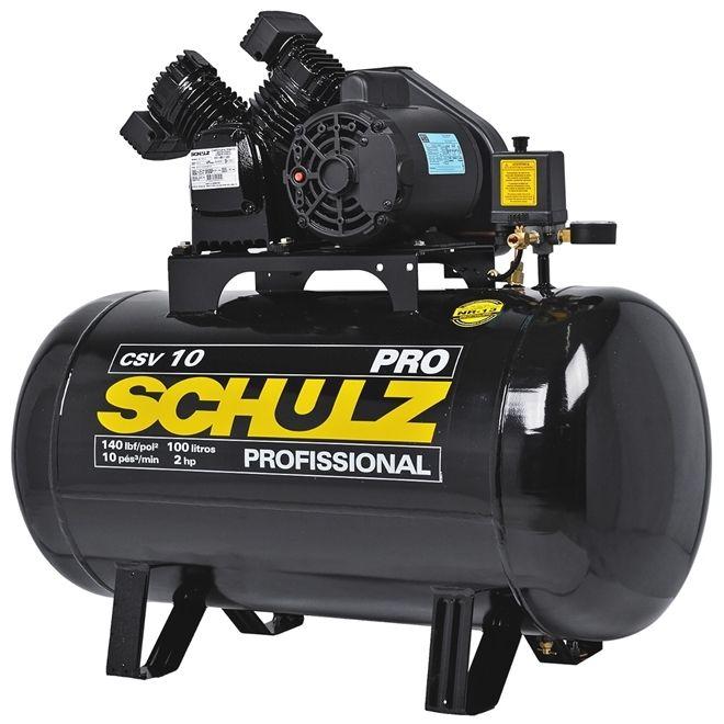 Compressor De Ar CSV10 - 100L Com Motor Monofásico 2PH - 60HZ - 2CV - 220V Pro - Schulz
