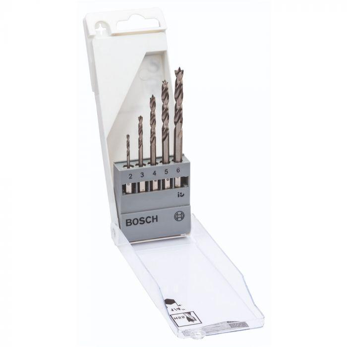 Jogo de Brocas para Madeira 3 Pontas de Aço Rápido 2-6,0mm com 5 unidades - Bosch
