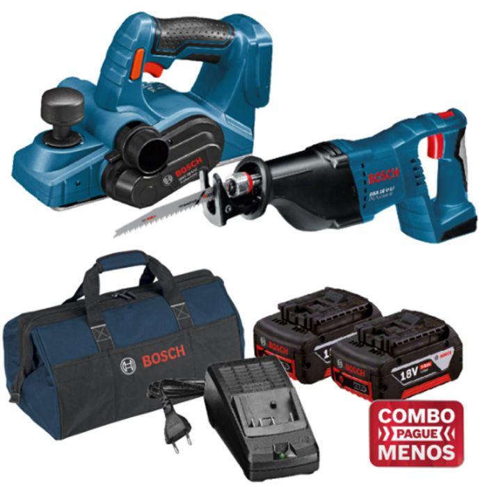 Combo Plaina + Serra Sabre + Kit Baterias + Bolsa - Bosch