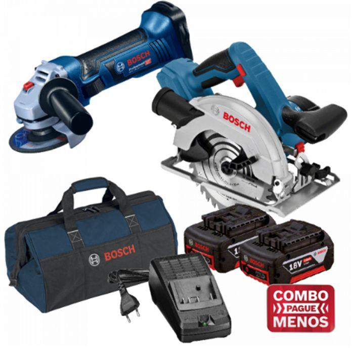 Combo Esmerilhadeira + Serra Circular + Kit Baterias + Bolsa - Bosch