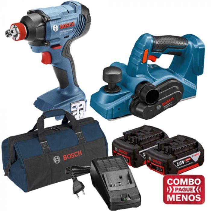Combo Chave De Impacto + Plaina + Kit Baterias + Bolsa - Bosch