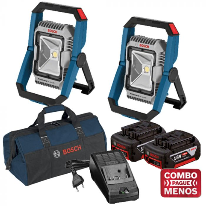 Combo 2 Lanternas + Kit Baterias + Bolsa - Bosch