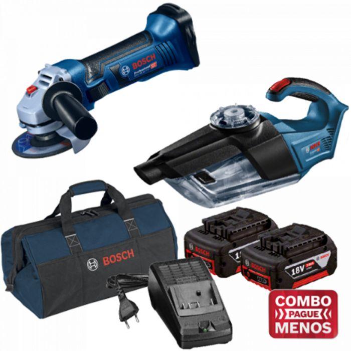 Combo Esmerilhadeira + Aspirador De Pó + Kit Baterias + Bolsa - Bosch