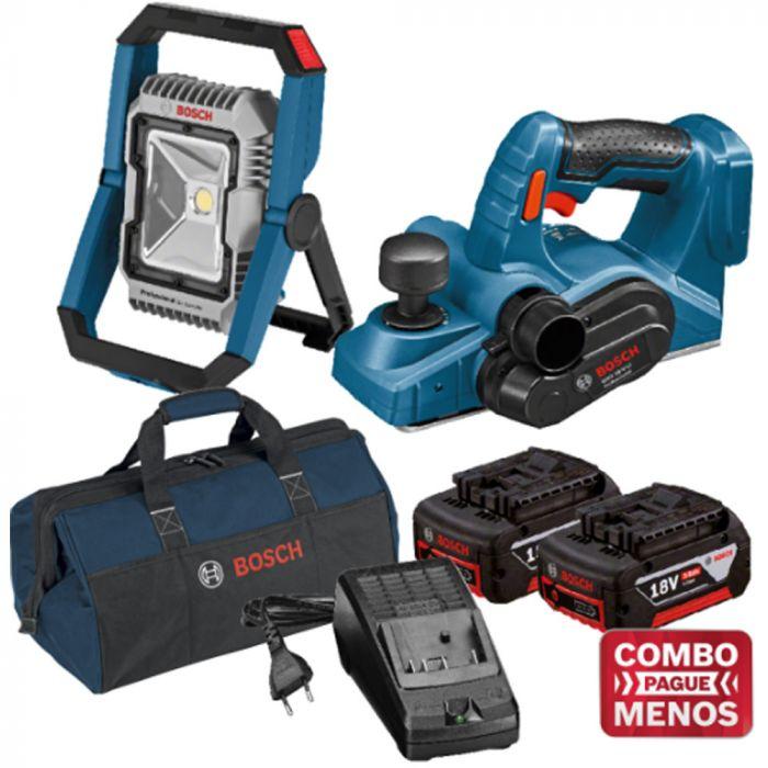 Combo Lanterna + Plaina + Kit Baterias + Bolsa - Bosch