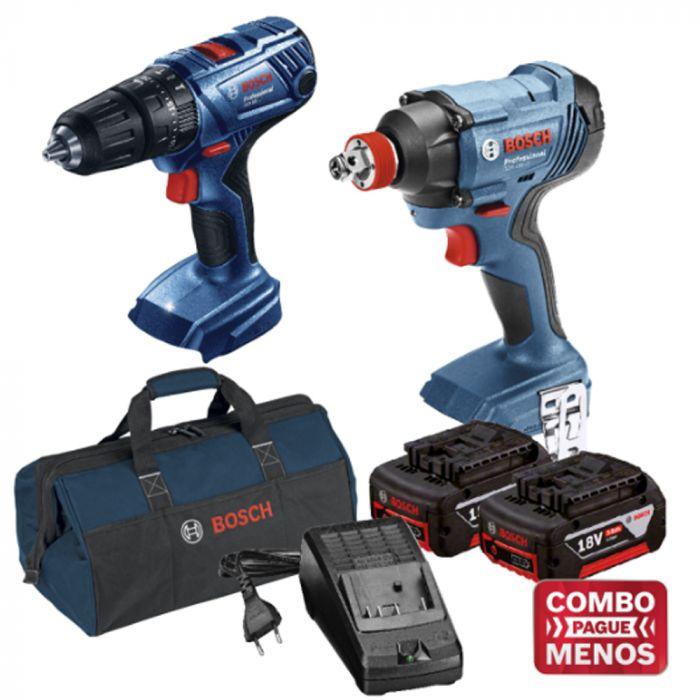 Combo Parafusadeira/Furadeira de Impacto  + Chave De Impacto + Kit Baterias + Bolsa - Bosch