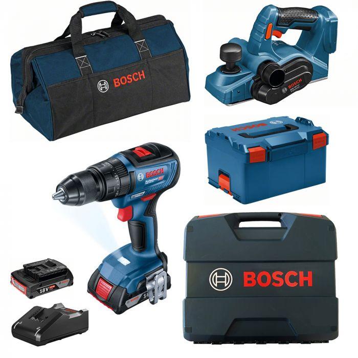 Combo Parafusadeira/Furadeira de Impacto à Bateria 18V GSB 18V-50 Motor Brushless + Plaina à Bateria 18V GHO 18V-LI - Bosch