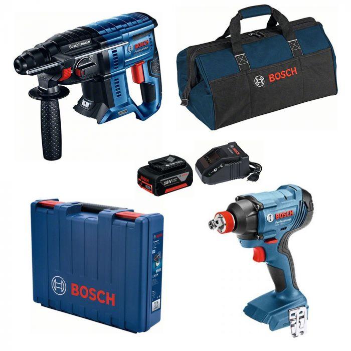 Combo Martelo Perfurador/Rompedor à Bateria 18V GBH 180-LI Motor Brushless + Chave de Impacto à Bateria 18V GDX 180-LI - Bosch