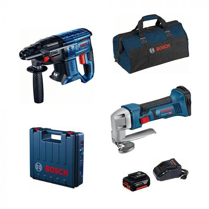 Combo Martelo Perfurador/Rompedor à Bateria 18V GBH 180-LI Motor Brushless + Tesoura Faca à Bateria 18V GSC 18V-16 - Bosch