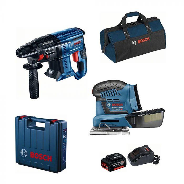 Combo Martelo Perfurador/Rompedor à Bateria 18V GBH 180-LI Motor Brushless + Lixadeira Orbital à Bateria 18V GSS 18V-10 - Bosch