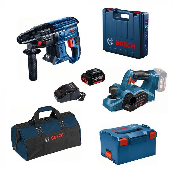 Combo Martelo Perfurador/Rompedor à Bateria 18V GBH 180-LI Motor Brushless + Plaina à Bateria 18V GHO 18V-LI - Bosch