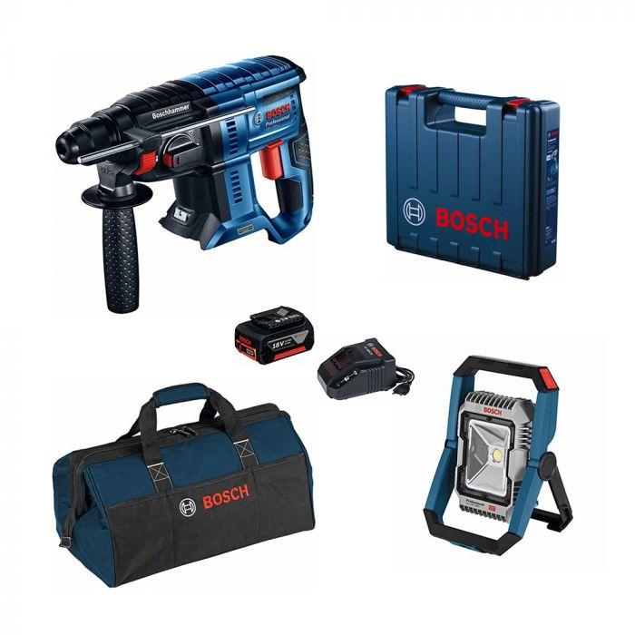 Combo Martelo Perfurador/Rompedor à Bateria 18V GBH 180-LI Motor Brushless + Lanterna à Bateria 18V GLI 18V-1900 - Bosch
