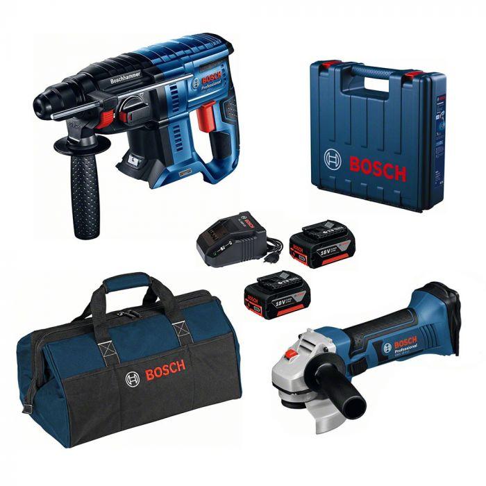 Combo Martelo Perfurador/Rompedor à Bateria 18V GBH 180-LI Motor Brushless + Esmerilhadeira à Bateria 18V GWS 18-125V LI - Bosch