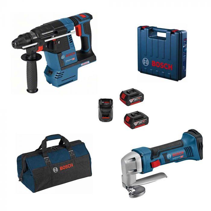 Combo Martelo Perfurador/Rompedor à Bateria 18V GBH 18V-26 + Tesoura Faca à Bateria 18V GSC 18V-16 – Bosch