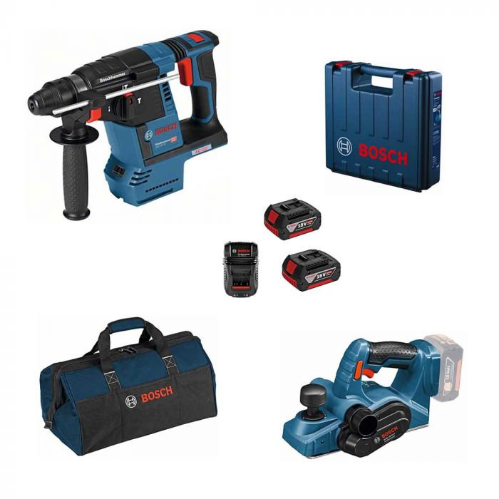 Combo Martelo Perfurador/Rompedor à Bateria 18V GBH 18V-26 + Plaina à Bateria 18V GHO 18V-LI – Bosch