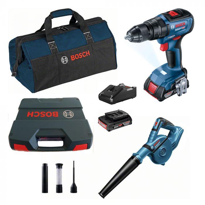 Combo Parafusadeira/Furadeira de Impacto à Bateria 18V GSB 18V-50 Motor Brushless + Soprador à Bateria 18V GBL 18V-120 - Bosch