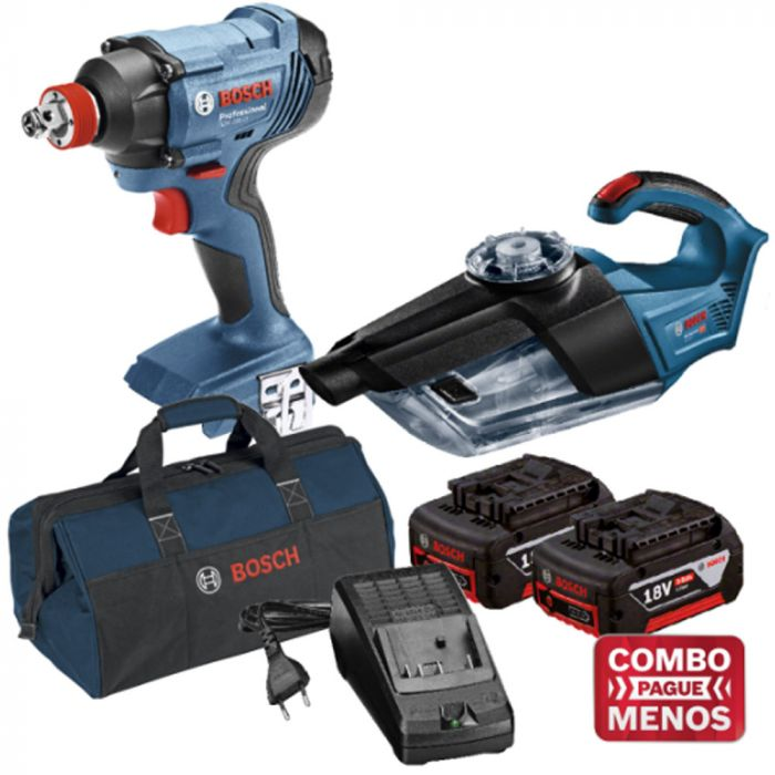 Combo Chave De Impacto + Aspirador De Pó + Kit Baterias + Bolsa - Bosch