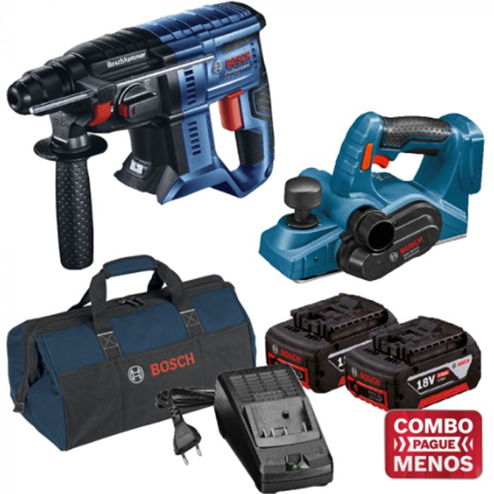 Combo Martelete + Plaina + Kit Baterias + Bolsa - Bosch