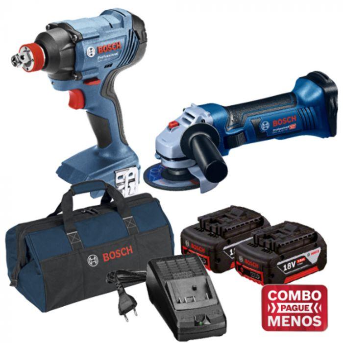 Combo Chave De Impacto + Esmerilhadeira + Kit Baterias + Bolsa - Bosch