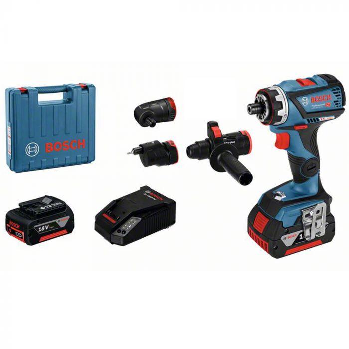 Parafusadeira e Furadeira Bosch GSR 18V-60 FC Flexiclick a bateria de 18V com 2 baterias, 1 carregador e maleta L-boxx