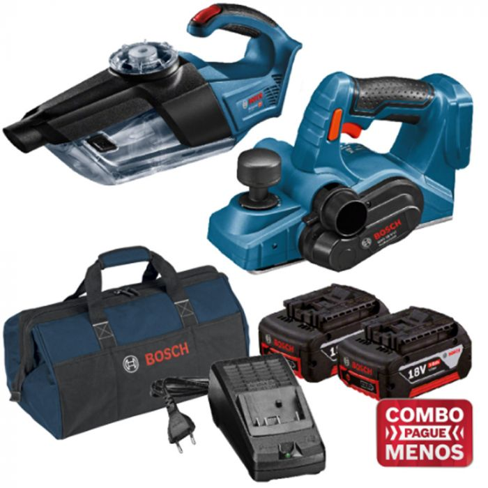 Combo Aspirador + Plaina + Kit Baterias + Bolsa - Bosch