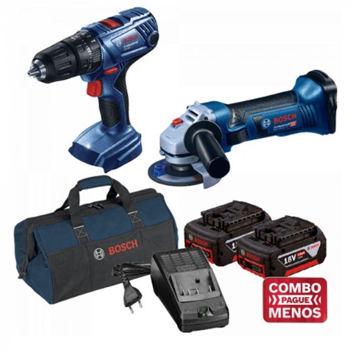 Combo Furadeira De Impacto + Esmerilhadeira + Kit Baterias + Bolsa - Bosch