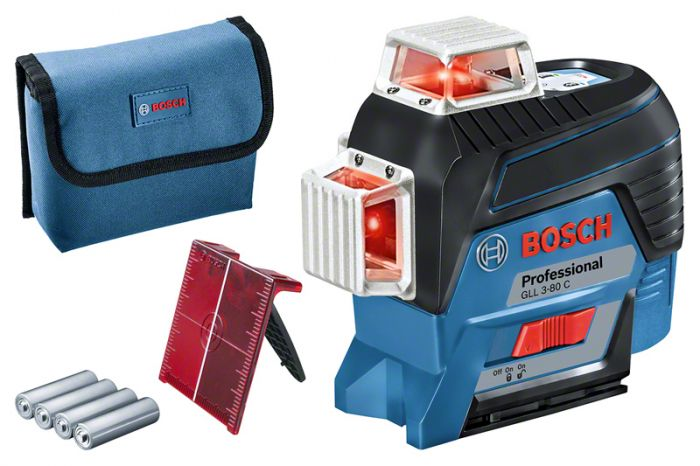 Nível a Laser Bosch GLL 3-80 C Com 3 Linhas 360º Com Tripé