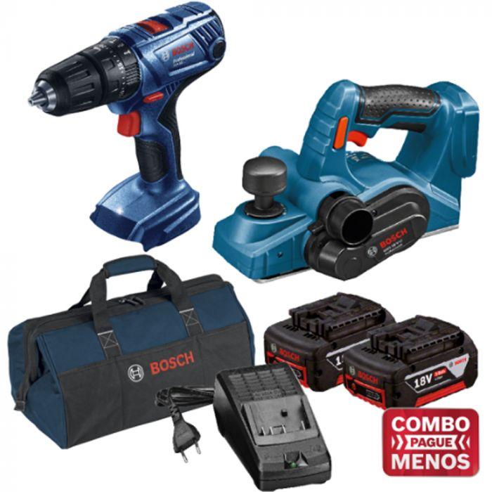 Combo Furadeira De Impacto + Plaina + Kit Baterias + Bolsa - Bosch