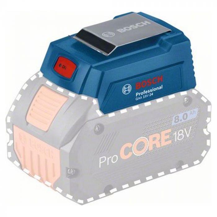 Adapatador Bosch GAA 18V-24 para Carregador portatil com saída usb (POWER BANK) até 2,4 Ah sem bateria e sem carregador