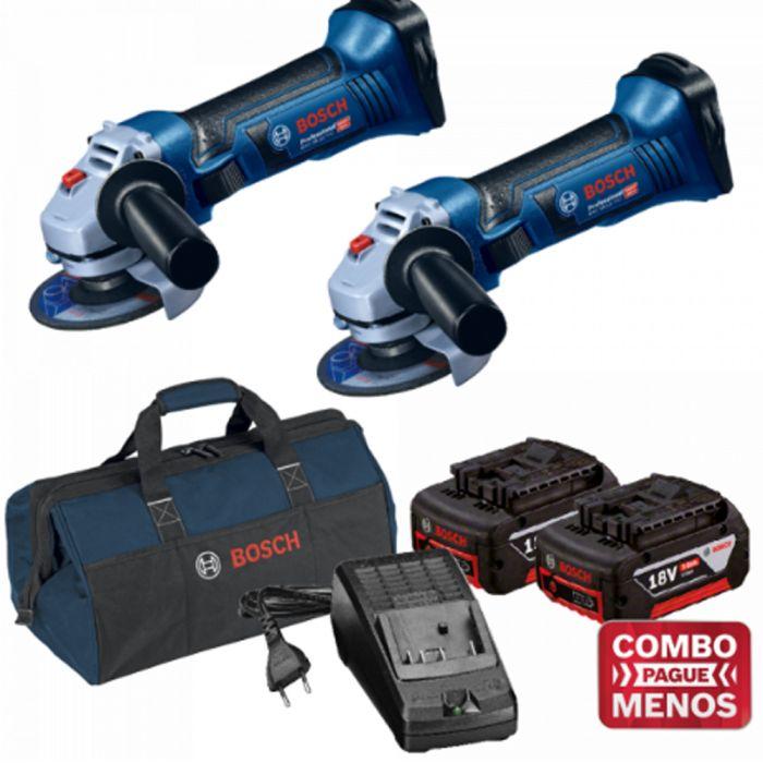 Combo 2 Esmerilhadeiras + Kit Baterias + Bolsa - Bosch