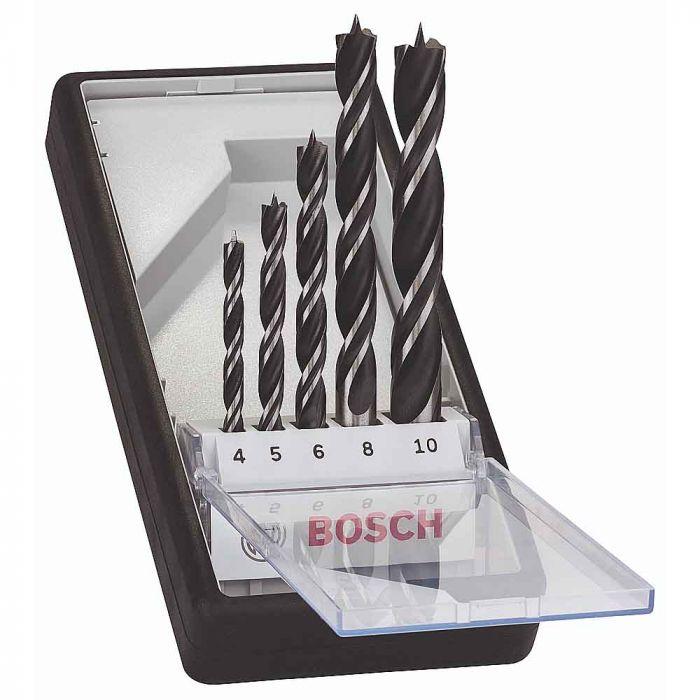 Jogo de Brocas 3 Pontas para Madeira 4-10mm com 5 Unidades - Bosch