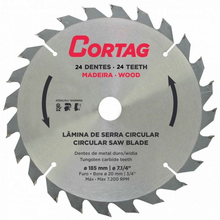 Lâmina de Serra Circular 185 mm com 24 Dentes - CORTAG