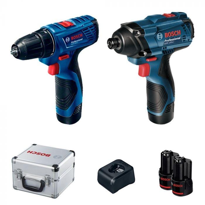 Combo Chave de Impacto GDR 120-LI 12 V + Parafusadeira GSR 120-LI 12 V, 2 Baterias, Carregador, Kit de Acessórios e Maleta - Bosch