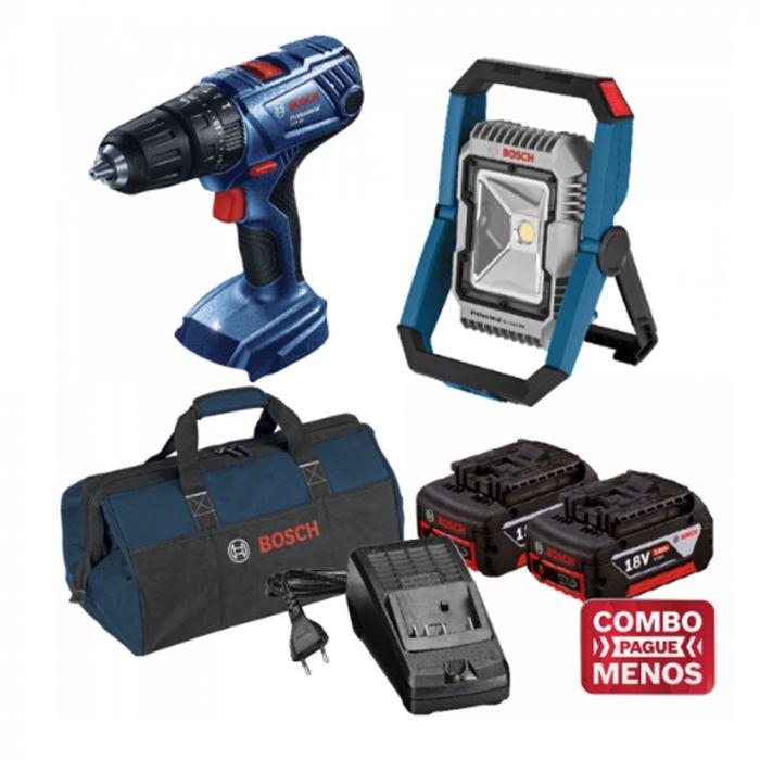 Combo Furadeira De Impacto + Lanterna + Kit Baterias + Bolsa - Bosch